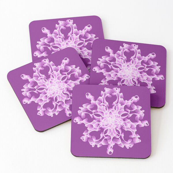 Delicate Abstract Flower in Lilac Coasters (Set of 4)