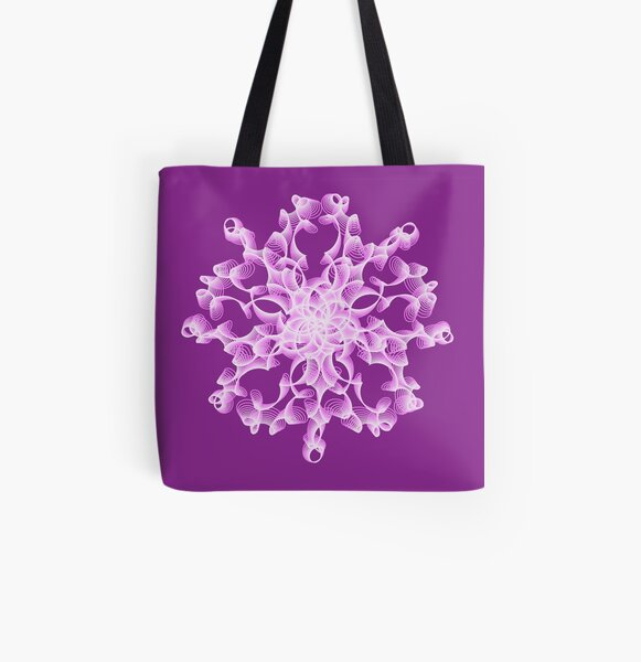 Delicate Abstract Flower in Lilac All Over Print Tote Bag