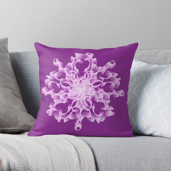 Delicate Abstract Flower in Lilac Throw Pillow