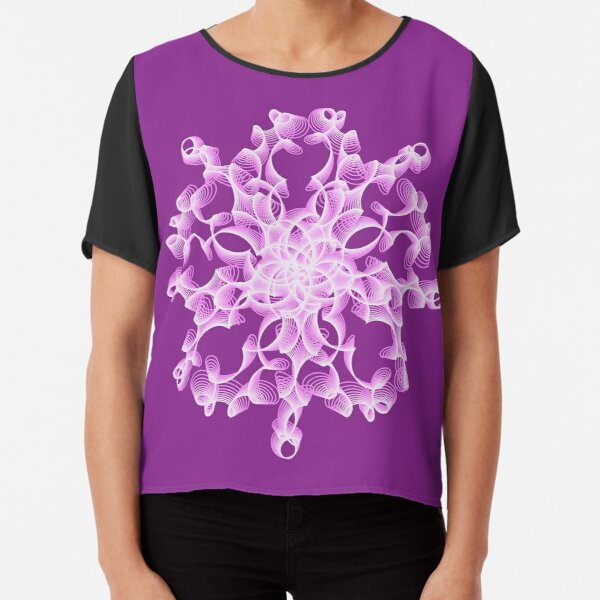 Delicate Abstract Flower in Lilac Chiffon Top