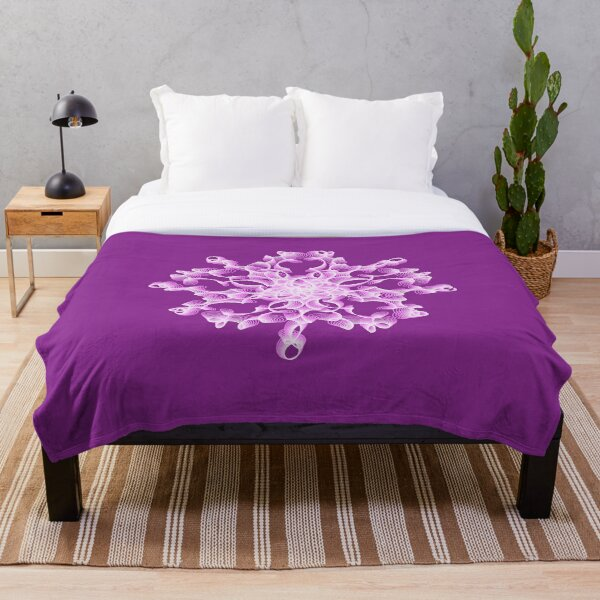 Delicate Abstract Flower in Lilac Throw Blanket
