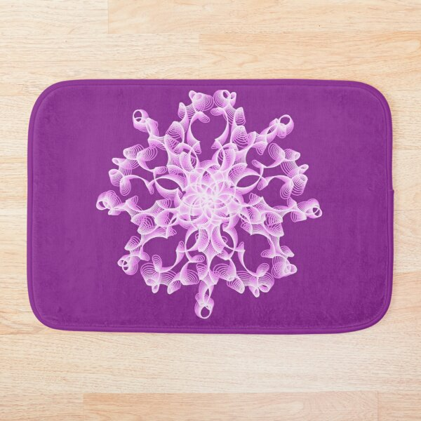 Delicate Abstract Flower in Lilac Bath Mat