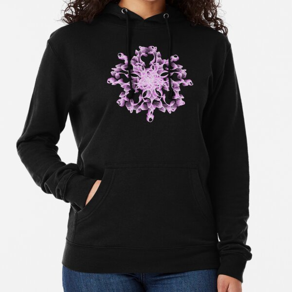 Delicate Abstract Flower in Lilac Lightweight Hoodie