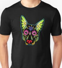 Day of the Dead German Shepherd in Black Sugar Skull Dog T-Shirt