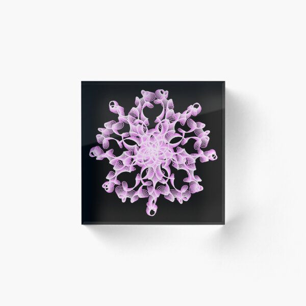 Abstract Flower in Lilac and Black Acrylic Block