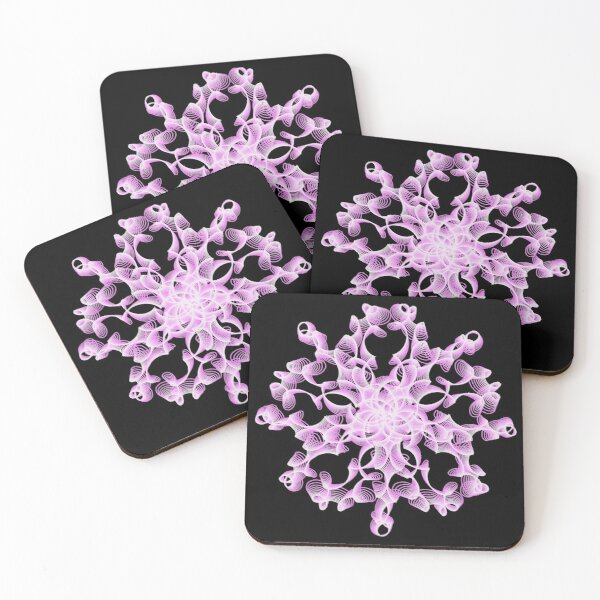 Abstract Flower in Lilac and Black Coasters (Set of 4)