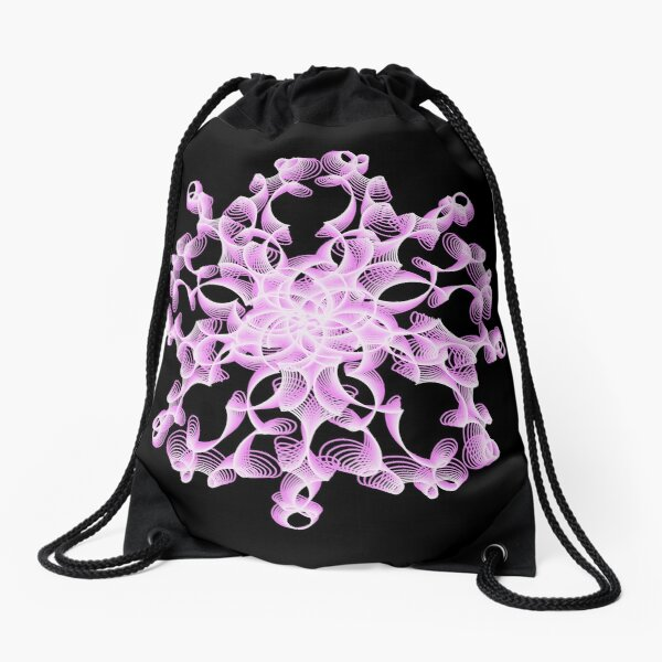 Abstract Flower in Lilac and Black Drawstring Bag
