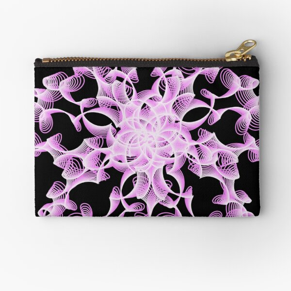 Abstract Flower in Lilac and Black Zipper Pouch