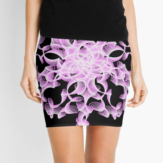 Abstract Flower in Lilac and Black Mini Skirt