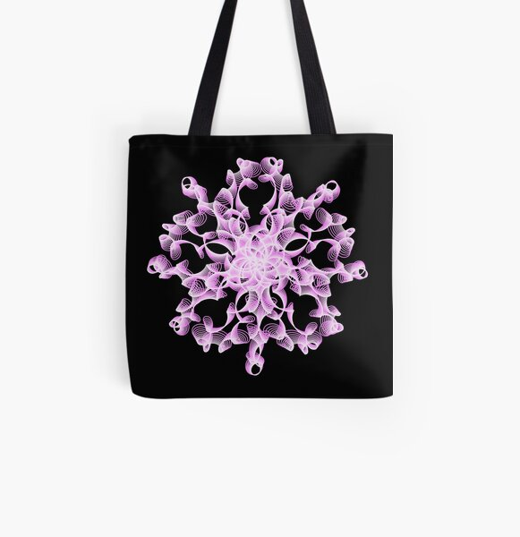 Abstract Flower in Lilac and Black All Over Print Tote Bag