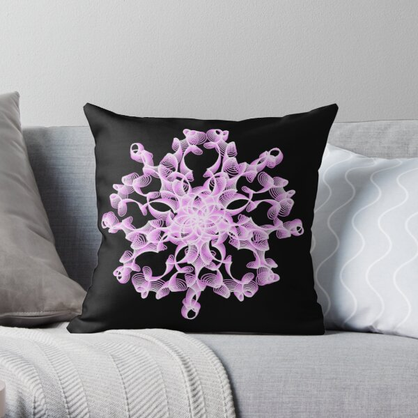 Abstract Flower in Lilac and Black Throw Pillow