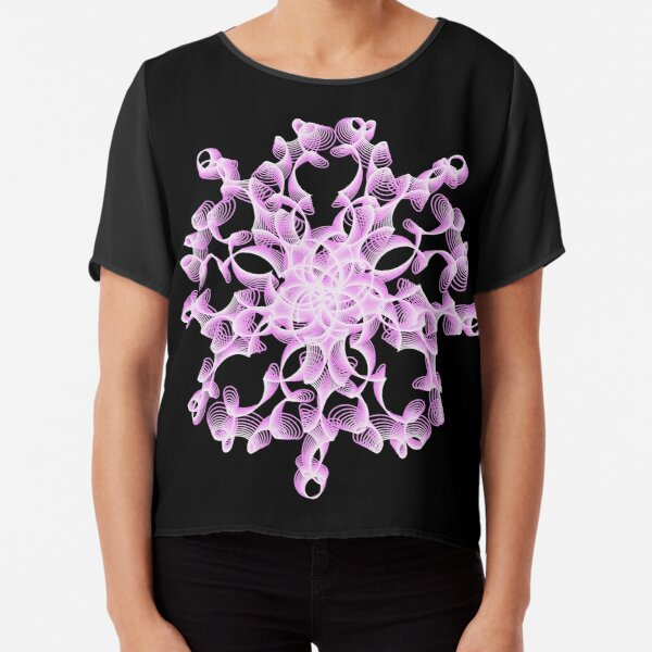 Abstract Flower in Lilac and Black Chiffon Top