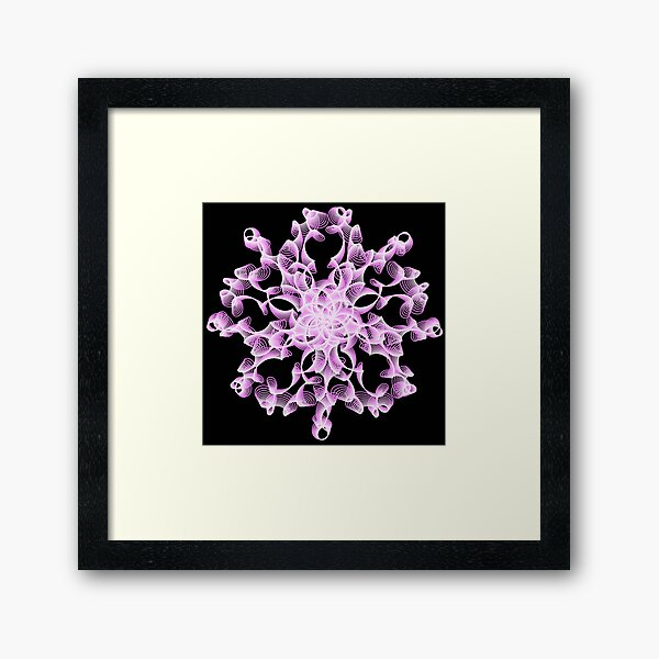 Abstract Flower in Lilac and Black Framed Art Print