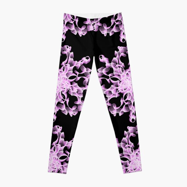 Abstract Flower in Lilac and Black Leggings