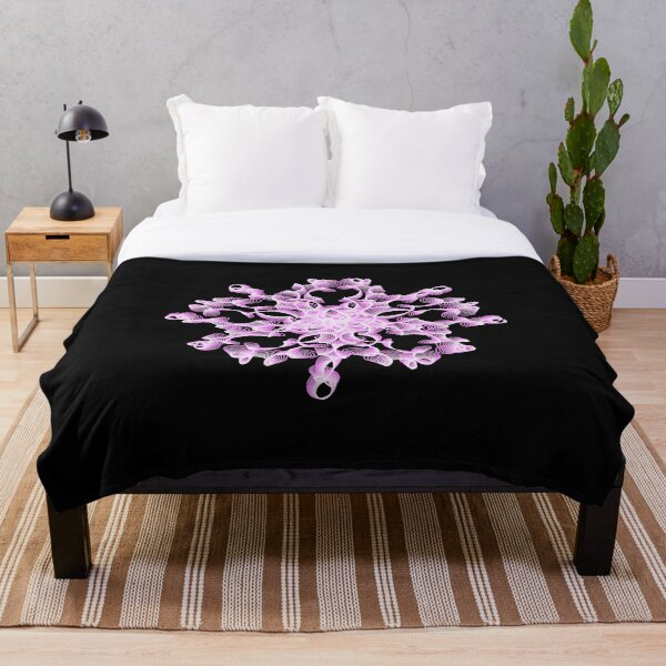 Abstract Flower in Lilac and Black Throw Blanket
