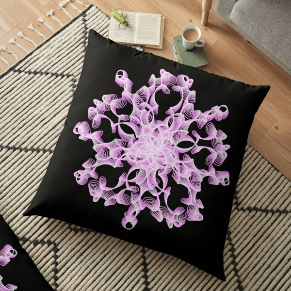 Abstract Flower in Lilac and Black Floor Pillow