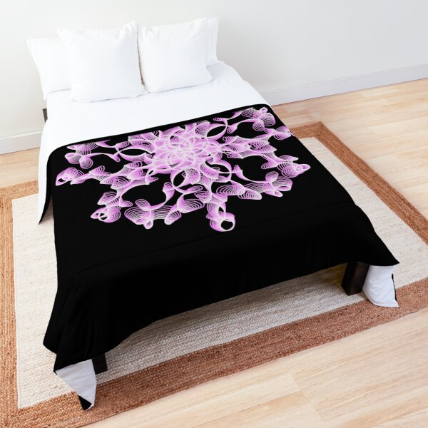 Abstract Flower in Lilac and Black Comforter
