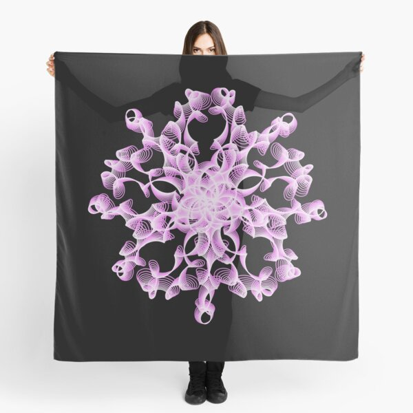 Abstract Flower in Lilac and Black Scarf