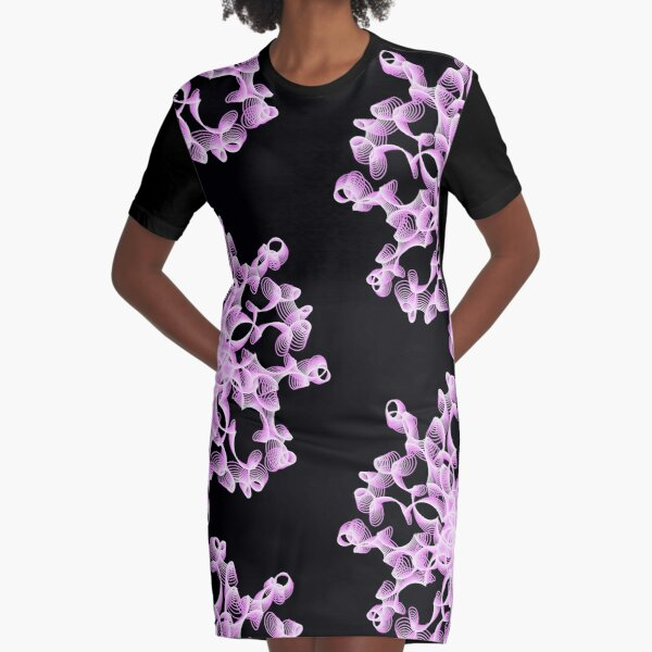 Abstract Flower in Lilac and Black Graphic T-Shirt Dress