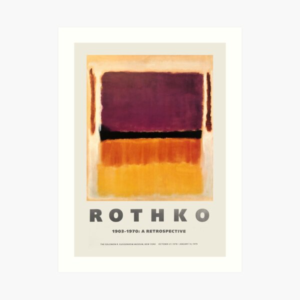 Mark Rothko - Exhibition poster for the Guggenheim Museum, New York, 1970 Art Print