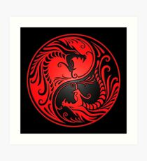 Yin Yang Dragons Red and Black Art Print