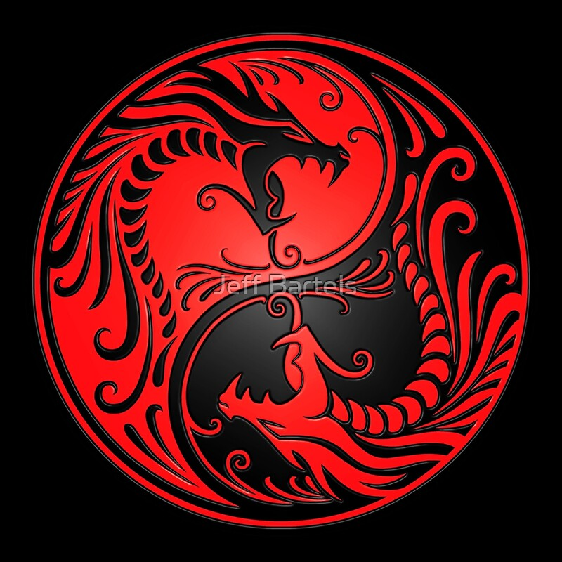 """Yin Yang Dragons Red and Black"" Posters by jeff bartels ..."