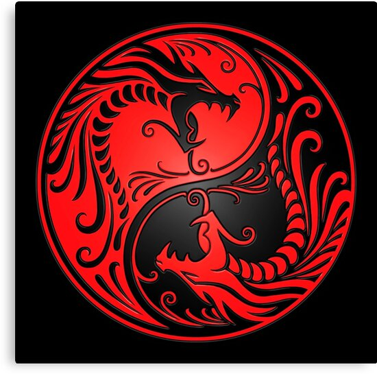 """""""Yin Yang Dragons Red and Black"""" Canvas Print by ..."""