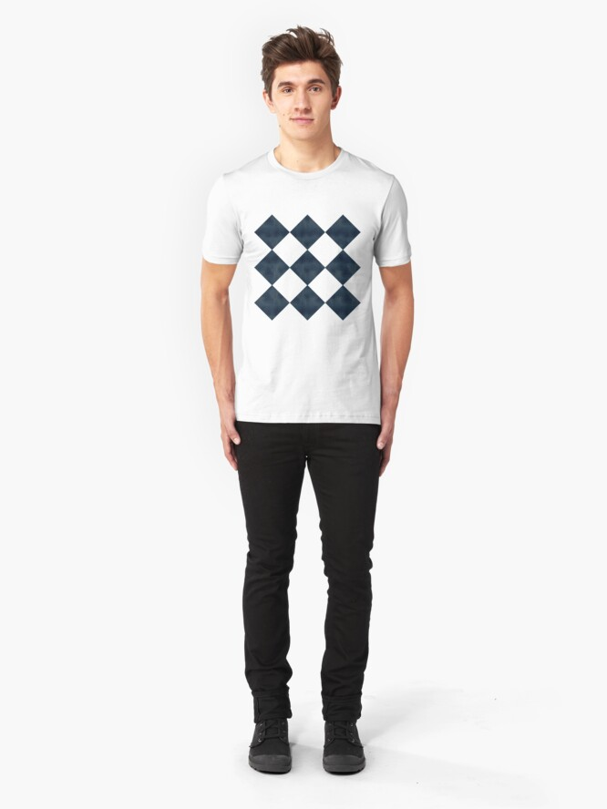 Alternate view of Aged Black And White Diagonal Checks Slim Fit T-Shirt
