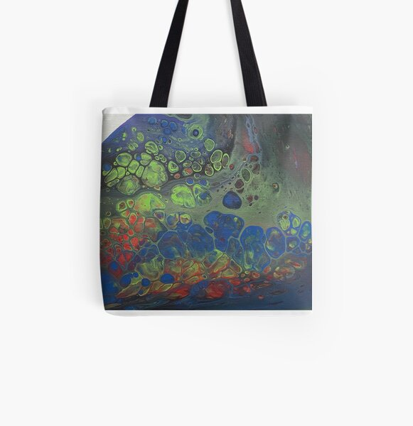 Green and blue cells All Over Print Tote Bag