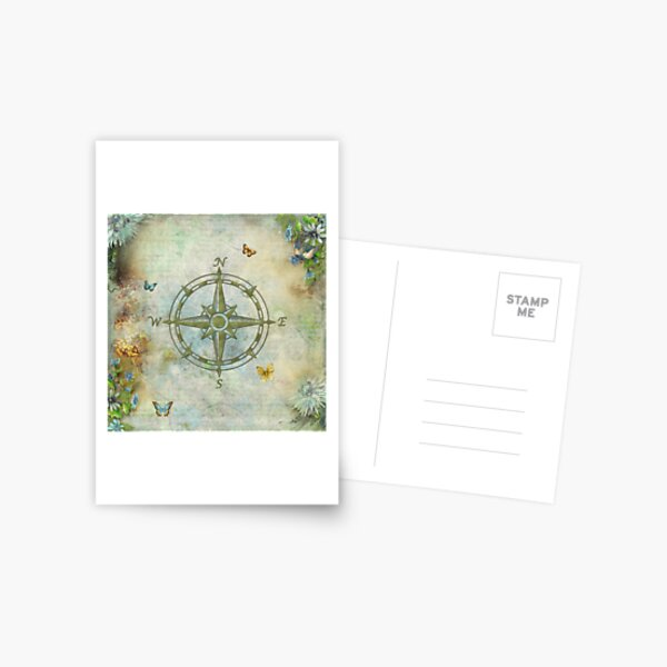 Vintage Butterfly Compass Postcard