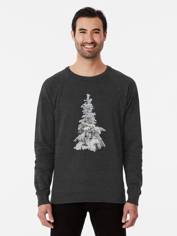Alternate view of Frosty Tree on a Foggy Winter Day Lightweight Sweatshirt