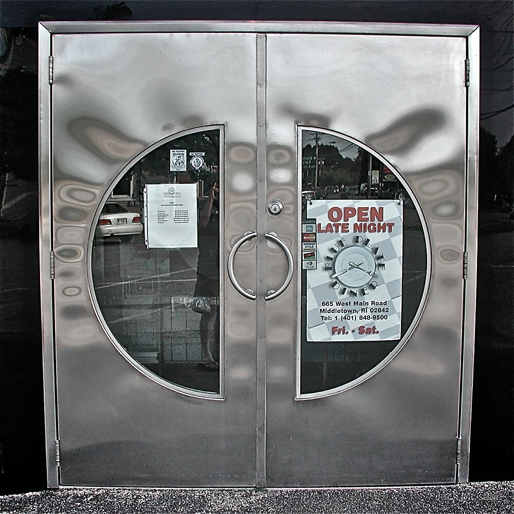Reflections In the Cresent Steel Door - Blue Plate Diner  *Featured* by Jack McCabe