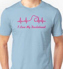 Camiseta unisex Latido del corazón I Love My Dachshund