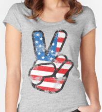 Retro American Peace Shirt Women's Fitted Scoop T-Shirt