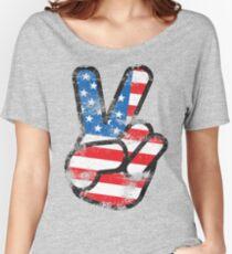 Retro American Peace Shirt Women's Relaxed Fit T-Shirt