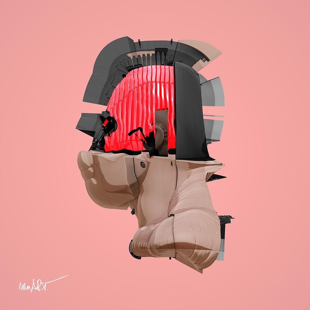 DISPLACEMIND II 12|2016 Rose - Print (Cyberpunk Displacement 3D-Render Digital Art) von nenART-Official