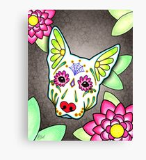 Day of the Dead German Shepherd in White Sugar Skull Dog Canvas Print