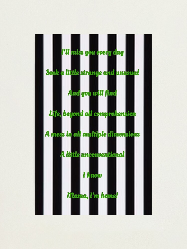 Jump In The Line Beetlejuice Lyrics Photographic Print By Just Getting Bi Redbubble