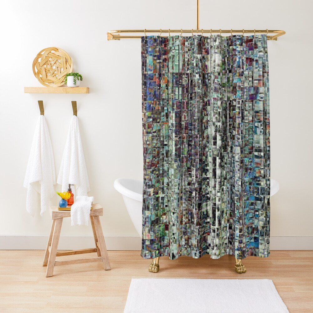 Abstract Chaotic Pattern Shower Curtain