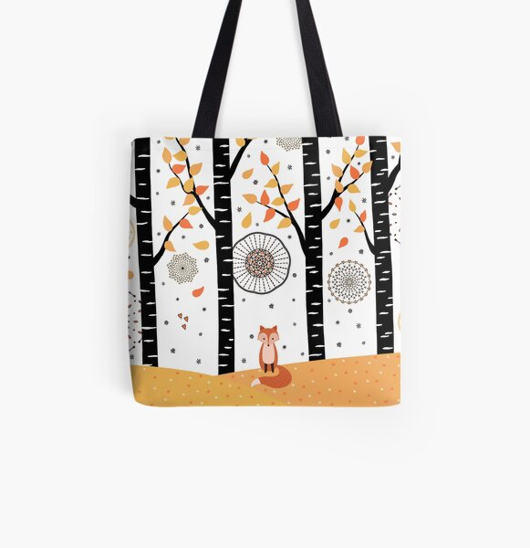 Fox - Birch Trees - Autumn All Over Print Tote Bag