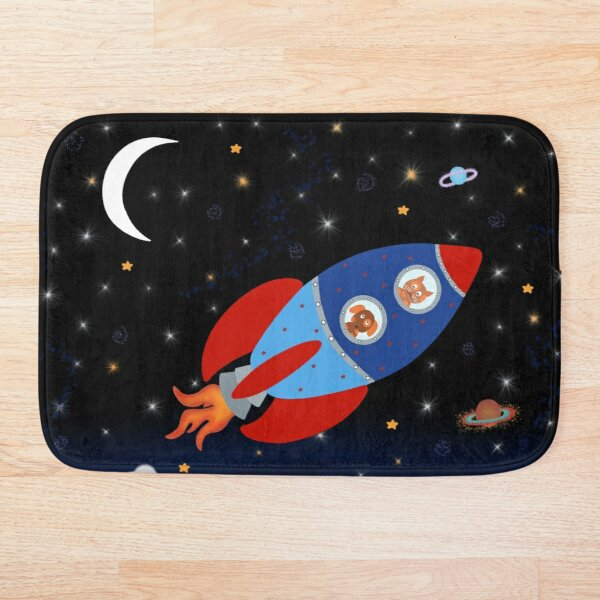 Space - Rocket - Cat - Dog Bath Mat