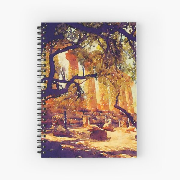 Temple and Olive Trees, Agrigento, Sicily Spiral Notebook