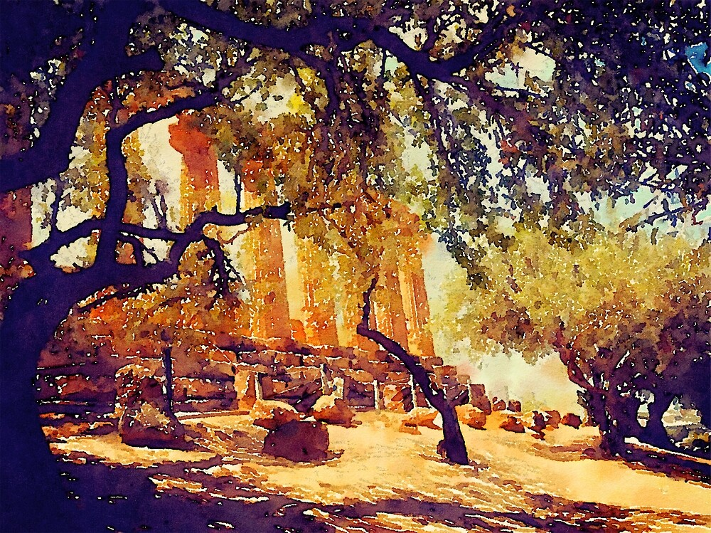 Temple and Olive Trees, Agrigento, Sicily by Douglas E.  Welch
