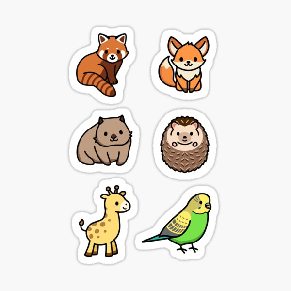 Cute Animal Sticker Pack 6 Sticker