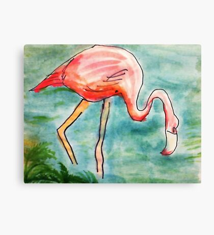 The Flamingo, in all her glory, watercolor Canvas Print