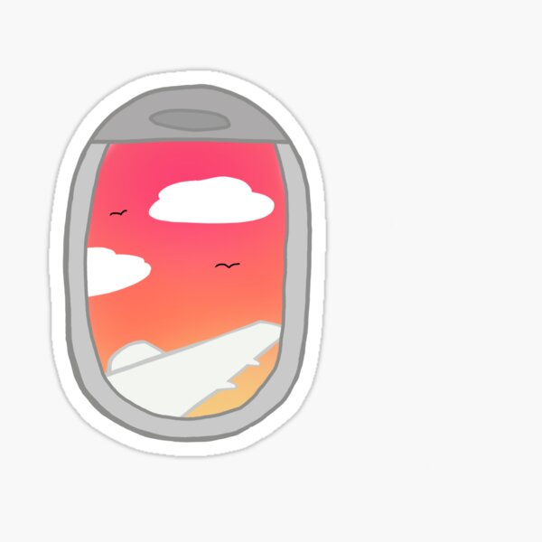 airplane window sunset  Sticker