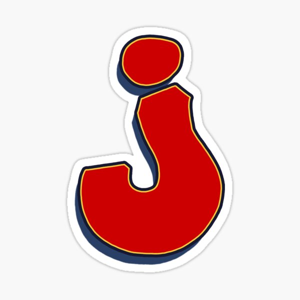 Letter J - Red Sticker