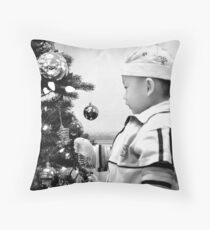 At Christmas in Black and White Throw Pillow