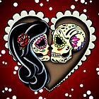 Ashes - Valentine's Day of the Dead Couple - Sugar Skull Lovers by prettyinink