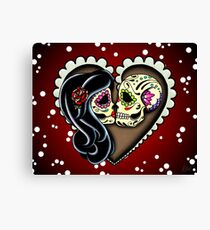 Ashes - Day of the Dead Couple - Sugar Skull Lovers Canvas Print